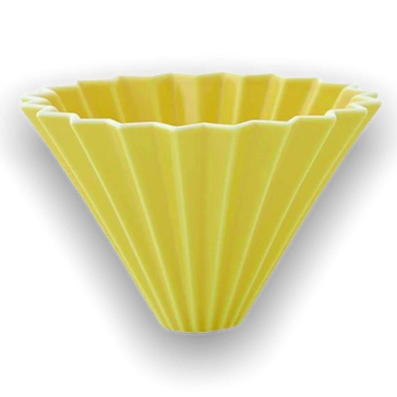 Origami keramický dripper M žlutý